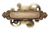 Stylized mechanical steampunk collage. Made of metal frame and clockwork details. poster