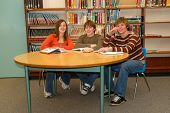 Happy Teens In Library Study Group