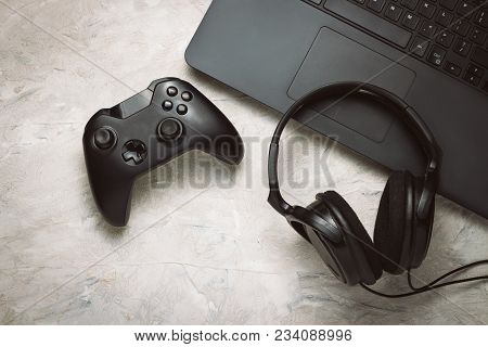 poster of Fun Gamepad Video Console Gaming Game Play Gamer Player Headset Earphones Keyboard Concept.