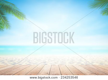 poster of Summer Holiday Concept: Wooden Table With Coconut Palm Tree At The Beach Background