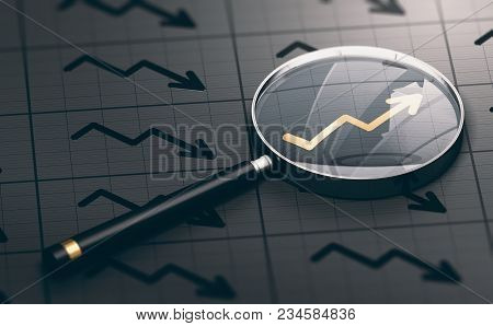 poster of 3d Illustration Of A Magnifying Glass Over A Golden Positive Chart Symbol. Concept Of Investing Oppo