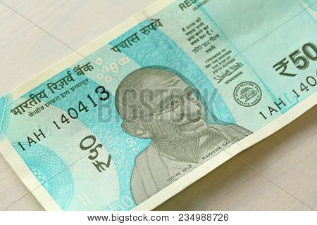 A New Banknote Of India With A Denomination Of 50 Rupees  Indian Currency   Portrait Of Mahatma Gandh poster