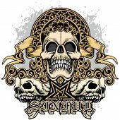 Gothic Coat Of Arms With Skull, Grunge Vintage Design T Shirts poster