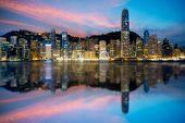 Hong Kong City Skyline At Sunrise. View From Across Victoria Harbor Hongkong. poster