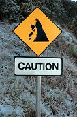 pic of landslide  - a landslide sign in county kerry ireland on a cold snow covered day - JPG