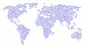 Earth Mosaic Map Composed Of Diamond Elements. Vector Diamond Scatter Flat Elements Are Composed Int poster
