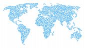 Continent Mosaic Map Designed Of Diamond Pictograms. Vector Diamond Scattered Flat Elements Are Comb poster