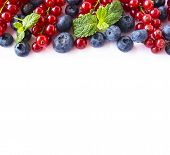 Mix Berries On A White Background. Berries And Fruits With Copy Space For Text. Ripe Blueberries, Re poster