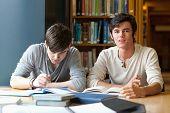 Estudante bonito rever suas notas em uma biblioteca