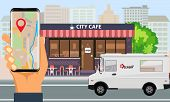 Online Order And Fast Food Delivery With Food Truck And City Landscape. Illustrated Vector. poster