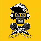Hip-hop Party. Rap Battle Sign With Skull And Two Microphones. Retro Style Illustration. poster