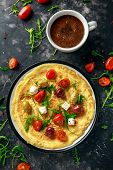 Vegetables Eggs Omelette With Tomatoes, Wild Rocket, Greek Cheese, Olives And Coffee. Morning Breakf poster