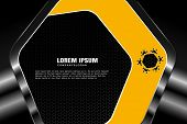 Vector Hexagon Gradient Yellow Mesh Background With Black Hexagon Insert And Metal Frames With Radia poster