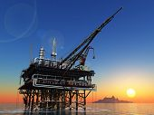 picture of oil drilling rig  - Station for oil in the sea - JPG
