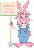 foto of buck teeth  - Easter Bunny holding egg hunt sign with flowers - JPG