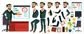 Ceo Business Man Character Vector. Working Bearded Ceo Male. Modern Office Workplace. Chief Executiv poster