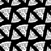Cute Cartoon Fast Food Print With Hand Drawn Pizza Slices. Sweet Vector Black And White Fast Food Pr poster