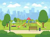Urban Summer Public Garden With Kids Playground. Cartoon Vector City Park With Cityscape. Green Park poster