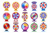 Roulette Fortune Spinning Wheels Flat Icons Casino Money Games - Bankrupt Or Lucky Vector Elements.  poster