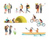 Active People Hikers. Cartoon Travelling Family Outdoor. Hiking And Trekking Tourists Vector Charact poster