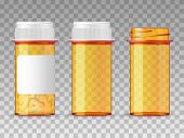 Realistic Vector Medical Orange Pills Bottle Isolated On Background. Empty Closed, Opened, And With  poster