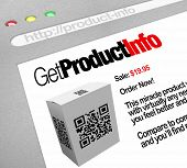 A web browser window shows the Get Product Info, a QR barcode on a box that has been scanned by a sm