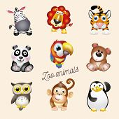 Zoo Life. Cartoon Fun Zoo Animals Set. Vector Illustration, Isolated On White Background Wich Text Z poster