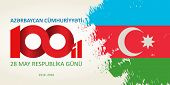 28 May Respublika Gunu. Translation From Azerbaijani: 28th May Republic Day Of Azerbaijan. 100th Ann poster