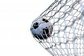 3d Rendering Soccer Ball In Goal In Motion. Soccer Ball In Net In Motion Isolated On White Backgroun poster