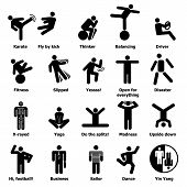 Man People Stick Icons Set. Simple Illustration Of 20 Man People Stick Vector Icons For Web poster