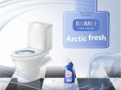 Vector Poster Of Detergent, Cleaning Concept, Mock Up Of 3d Realistic Toilet Bowl, Liquid Disinfecta poster