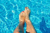 Female Legs In Swimming Pool Of Hotel. All Inclusive. Summer Vacation Concept. Woman Chilling In Swi poster