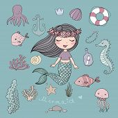 Marine Illustrations Set. Little Cute Cartoon Mermaid, Funny Fish, Starfish, Bottle With A Note, Alg poster
