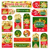 Cinco De Mayo Tag And Fiesta Party Invitation Banner. Mexican Holiday Skull In Sombrero With Maracas poster