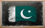 Flag Of Pakistan On Blackboard Painted With Chalk