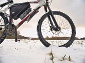 Extreme Race In Snow. Winter Adventure And Extreme Cycling Concept, Sport Fitness Motivation And Ins poster