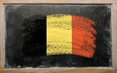 Flag Of Belgium On Blackboard Painted With Chalk