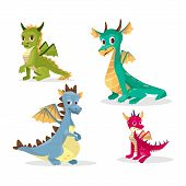 Cartoon Dragons Vector Illustration For Kid Or Children Funny Design. Flat Isolated Set Of Cute Fair poster