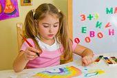 Schoolgirl Has Drawn A Rainbow poster