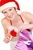 Navidad Elf desempacar su presente