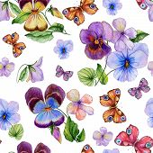 Beautiful Vivid Viola Flowers Leaves And Bright Butterflies On White Background. Seamless Spring Or  poster