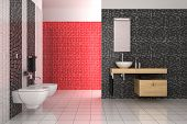 image of console-mirror  - modern bathroom with black red and white tiles - JPG