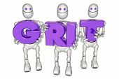Grit Determination Persistence Robots Holding Letters 3d Illustration poster