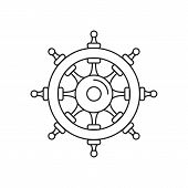 Wheel Of Ship Icon. Outline Wheel Of Ship Vector Icon For Web Design Isolated On White Background poster