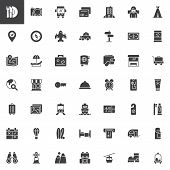 Travel Vector Icons Set, Modern Solid Symbol Collection, Filled Style Pictogram Pack. Signs, Logo Il poster