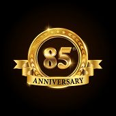 85 Years Anniversary Celebration Logotype. Golden Anniversary Emblem With Ribbon. Design For Booklet poster