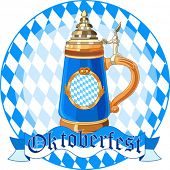 Round  Oktoberfest Celebration design with mug