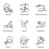 Beauty Vector Icons Set: Skin Care, Lash Extension, Eyebrow Correction, Nail Care And Design, Make U poster