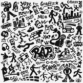 Rap Music Symbols , Street Style Vector Design Elements poster