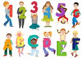 Kids Alphabet Vector Children With Cartoon Font And Boy Or Girl Character Holding Alphabetic Letter  poster